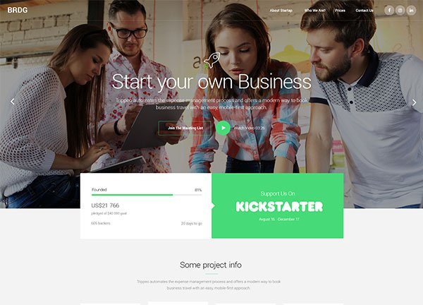 Startup Company Business Website